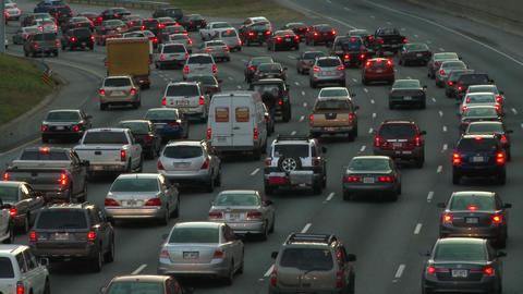 Static shot of slowly moving traffic on the freeway in Atlanta, Georgia Footage