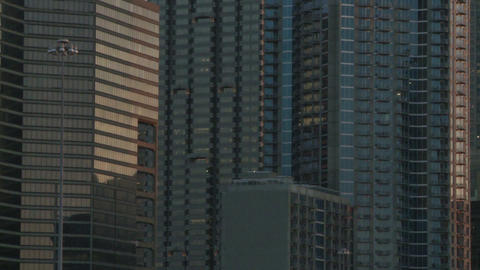 Slow, closeup pan from left to right of the Atlanta Skyline during dusk Footage