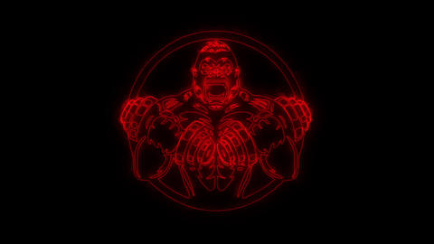 Red Gorilla Gym Fitness Animated Logo Loop Graphic Element Animation