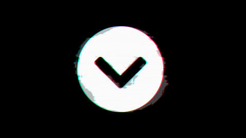 From the Glitch effect arises chevron circle down symbol. Then the TV turns off. Animation