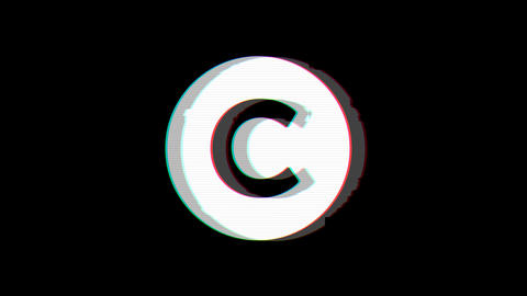 From the Glitch effect arises copyright symbol. Then the TV turns off. Alpha Animation