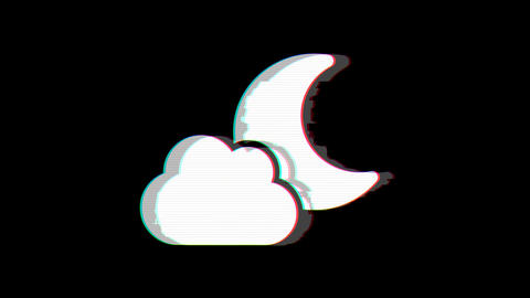 From the Glitch effect arises cloud moon symbol. Then the TV turns off. Alpha Animation