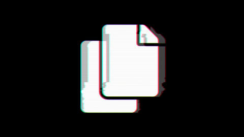 From the Glitch effect arises copy symbol. Then the TV turns off. Alpha channel Animation
