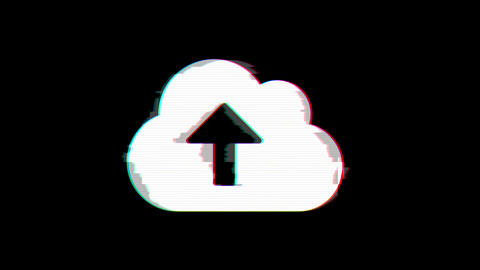From the Glitch effect arises cloud upload symbol. Then the TV turns off. Alpha Animation