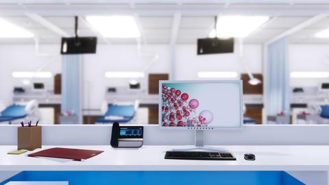 Empty nurses station in emergency room of modern hospital GIF