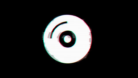 From the Glitch effect arises compact disc symbol. Then the TV turns off. Alpha Animation
