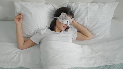Oversleeping Woman Waking up Late Footage