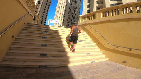 Man Athlete Running on the stairs影片素材