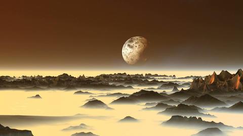 Alien Moon over the Misty Mountains Animation