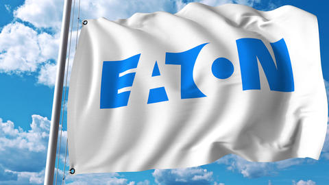 Waving flag with Eaton Corporation logo. 4K editorial animation Footage