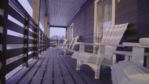Terrace of ski touring lodge Live Action