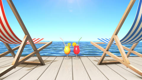 Two tropical drinks and two deckchairs at a seaside Animation