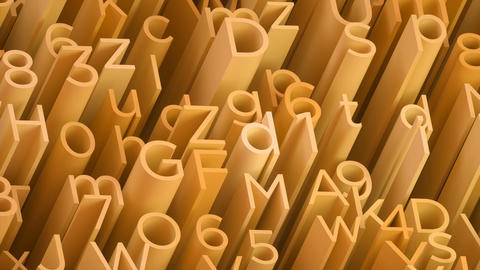 Random 3d yellow letters and numbers animated background Stock Video Footage