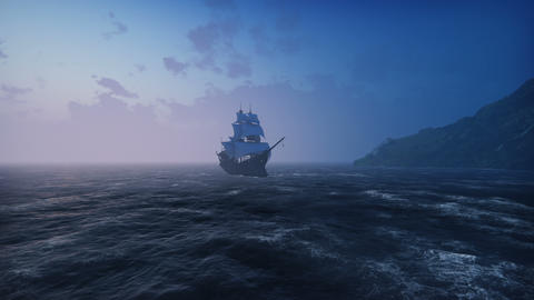 A large medieval ship in the sea in the fog floats to a desert rocky island Animation