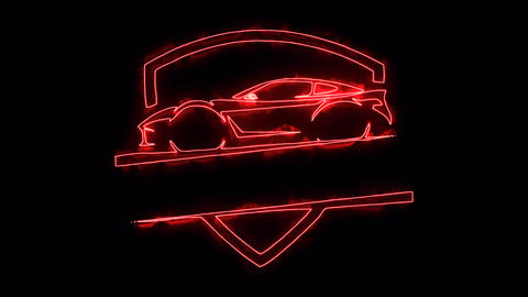 Red Sport Car Animated Logo Loop Graphic Element Animation