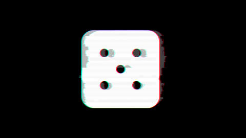 From the Glitch effect arises dice five symbol. Then the TV turns off. Alpha Animation