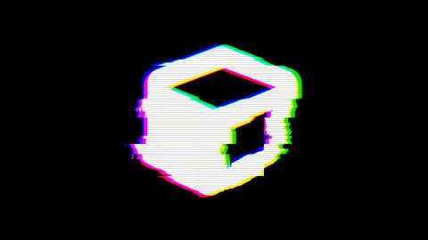 From the Glitch effect arises cube symbol. Then the TV turns off. Alpha channel Animation