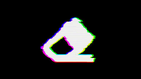 From the Glitch effect arises eraser symbol. Then the TV turns off. Alpha Animation