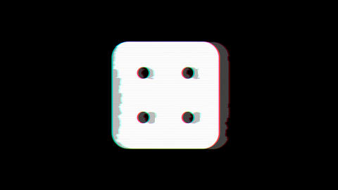 From the Glitch effect arises dice four symbol. Then the TV turns off. Alpha Animation
