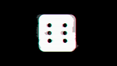 From the Glitch effect arises dice six symbol. Then the TV turns off. Alpha Animation