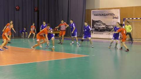 Orenburg, Russia - 11-13 February 2018 year: boys play in handball Live Action