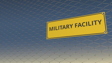 MILITARY FACILITY sign an a mesh wire fence against blue sky. 3D animation Live Action