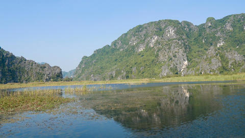 Scenic view of beautiful karst scenery and rice paddy fields Footage
