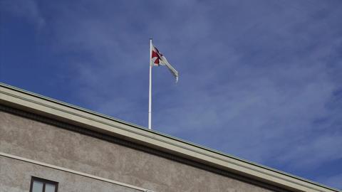 Flagpole on Freemasons' Hall in Copenhagen, Denmark Footage
