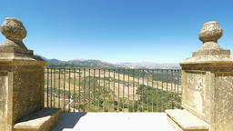 Views to the valley of Serrania de Ronda Mountains from the viewpoint of the gardens of Tajo de Live Action