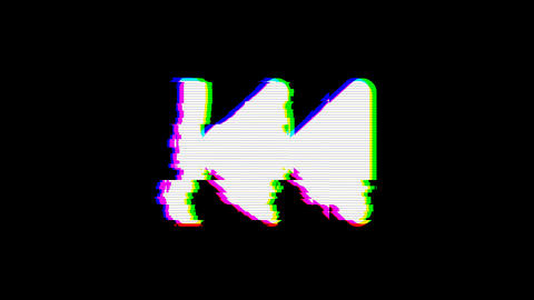 From the Glitch effect arises fast backward symbol. Then the TV turns off. Alpha Animation