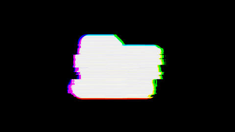 From the Glitch effect arises folder symbol. Then the TV turns off. Alpha Animation