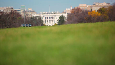 A racking focus shot of the White House in Washington DC Footage