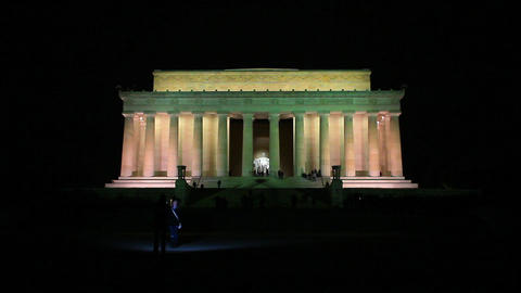 Night shot of the Lincoln Memorial in Washington DC Footage
