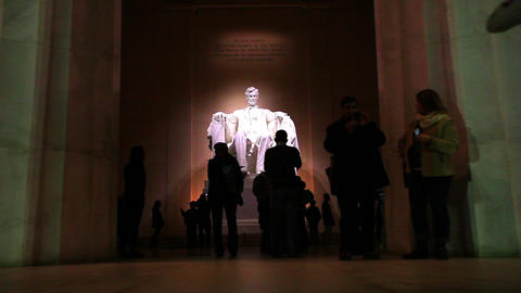 Inside the Lincoln Memorial at night in Washington DC Footage