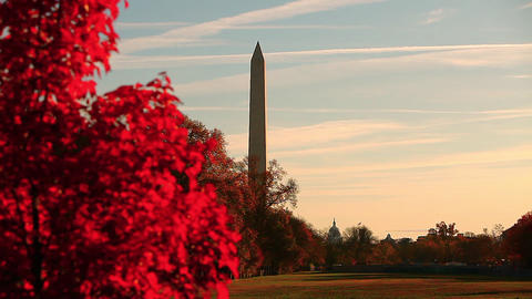 Zoom shot of the Washington Monument in Washington DC Footage