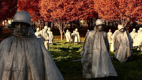 Pan of statues at the Korean War Veterans Memorial in Washington DC Footage