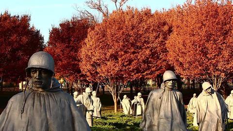 Tilting shot of soldier statues at the Korean War Veterans Memorial In Washingto Footage