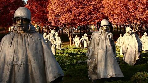 Static shot of statues at the Korean War Veterans Memorial in Washington DC Footage