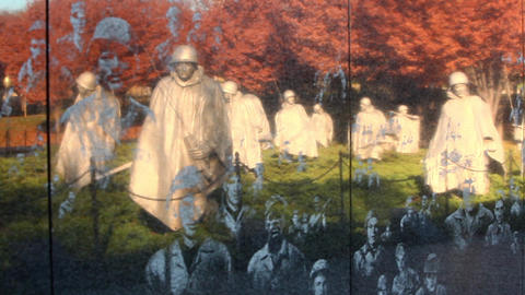 Zoom shot of the Korean War Veterans Memorial wall in Washington DC Footage