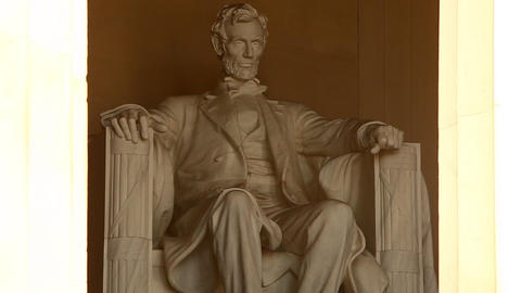 Static shot of the Abrahan Lincoln statue inside the Lincoln Memorial in Washing Footage