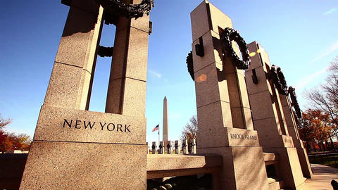 Tilt shot of New York pillar at the World War II Memorial in Washington DC with  Footage