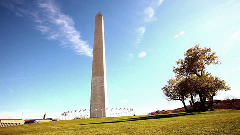 Pan of Washington Monument and its grounds in Washington DC with lens flare Live Action
