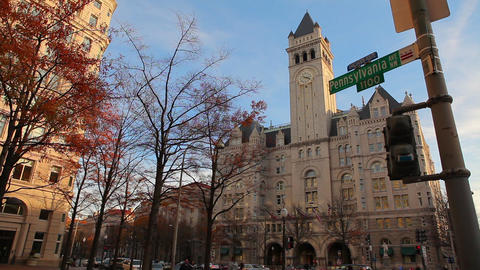 Static shot of the old post office pavilion on Pennsylvania Avenue in Washington Footage