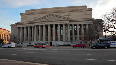 A static shot of The U.S. Treasury building and its grounds in Washington DC Footage