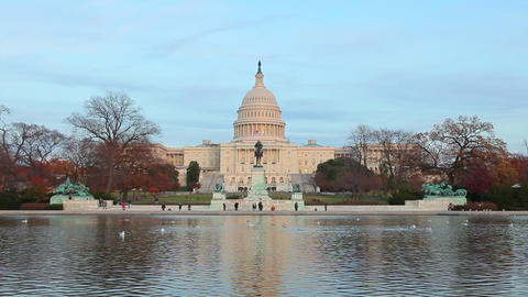 A static shot of the U.S. Capitol during the day Footage