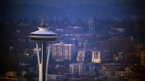 Zoomed view looking at the top of the Space Needle with vignette Live Action