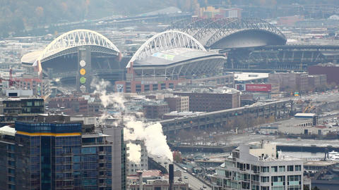 Static zoomed view looking at Century Link, and Safeco Stadiums Footage