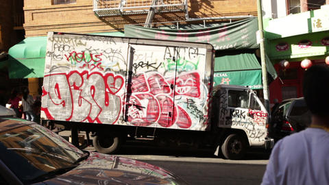 Static view of delivery truck covered in graffiti on the streets of San Francisc Footage