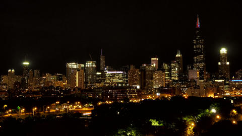 Golden Chicago Skyline At Sunset stock footage