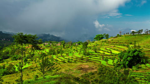 Time-lapse of a terraced, cultivated hillside in Nepal Footage